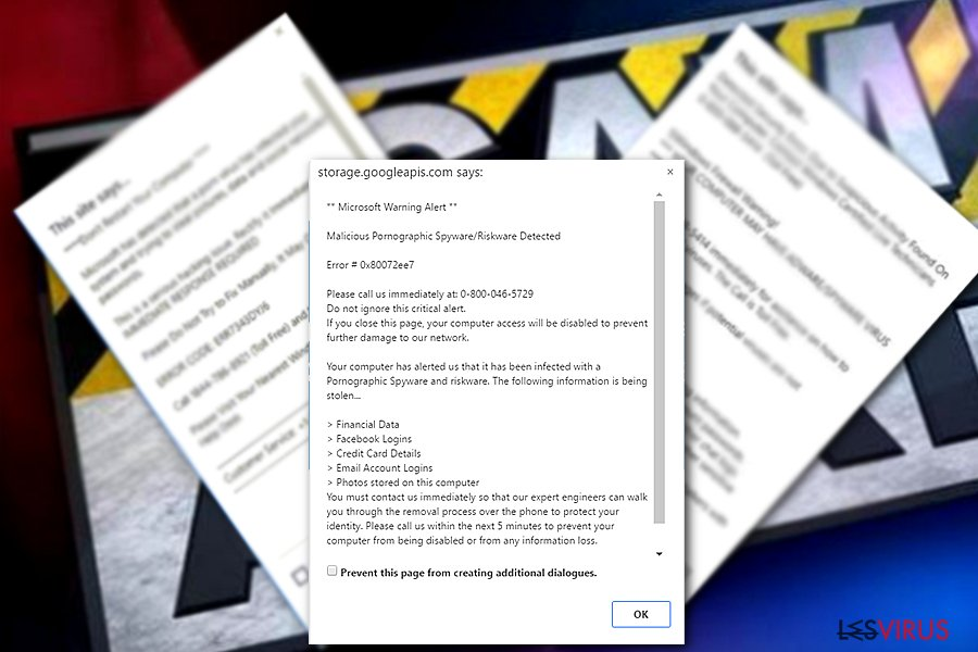 "Le virus Tech support Scam ""Microsoft Warning Alert"""