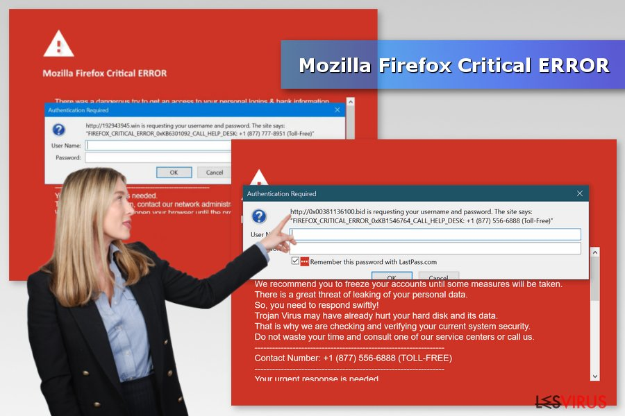 Illustration de l'alerte d'arnaque Mozilla Firefox Critical ERROR