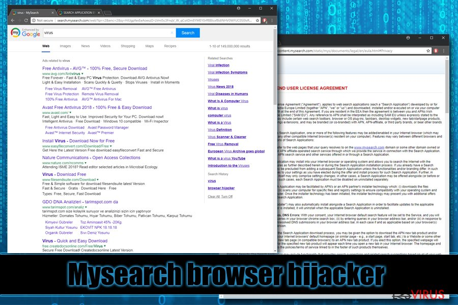 le browser hijacker Mysearch