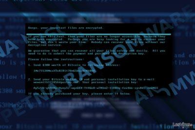 Capture d'écran de la note de rançon de Petna