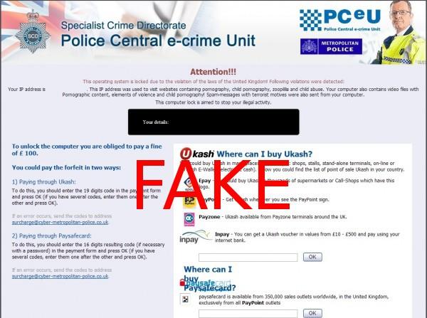 Police Central e-crime Unit virus instantané