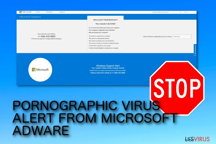 l'arnaque du pop-up PORNOGRAPHIC VIRUS ALERT FROM MICROSOFT