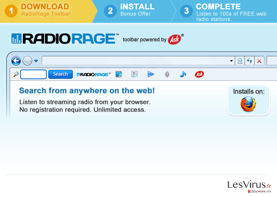 RadioRage Toolbar instantané