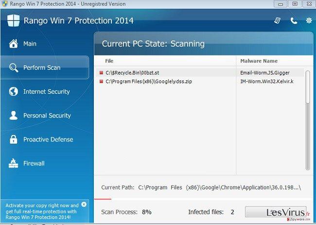 Rango Win 7 Antivirus 2014 instantané