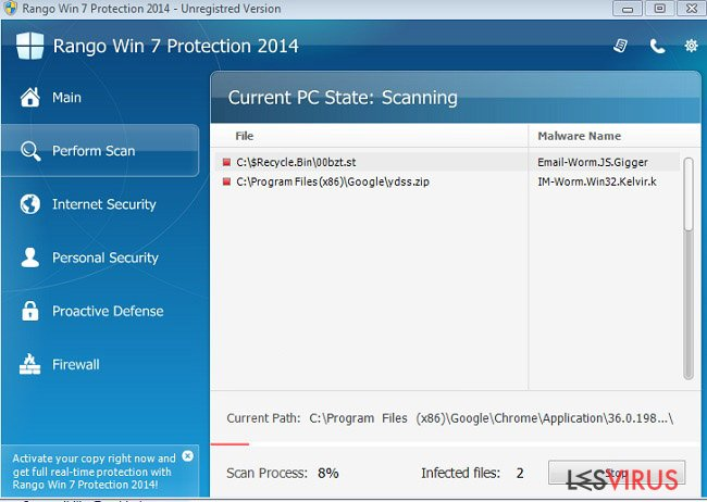Rango Win 7 Protection 2014 instantané