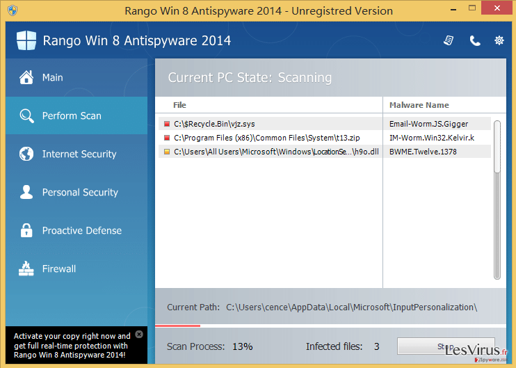 Rango Win 7 Antispyware 2014 instantané