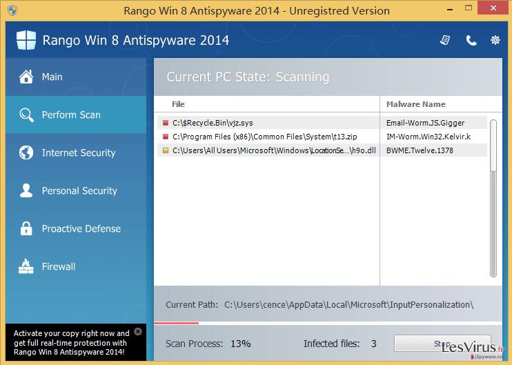 Rango Win 8 Antispyware 2014 instantané