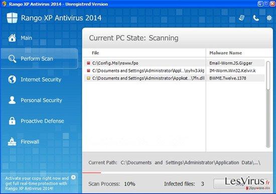 Rango XP Antivirus 2014 instantané