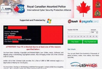 Royal Canadian Mounted Police Ukash virus