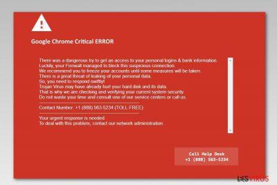Capture d'écran de Google Chrome Critical Error