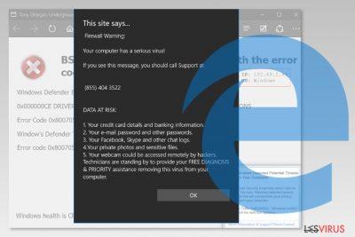 Capture d'écran du virus de Microsoft Edge