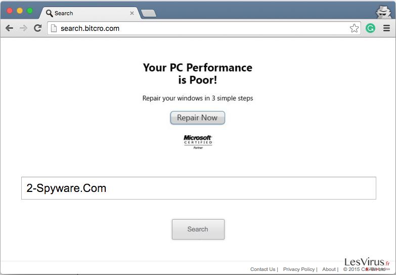 Search.bitcro.com redirect instantané