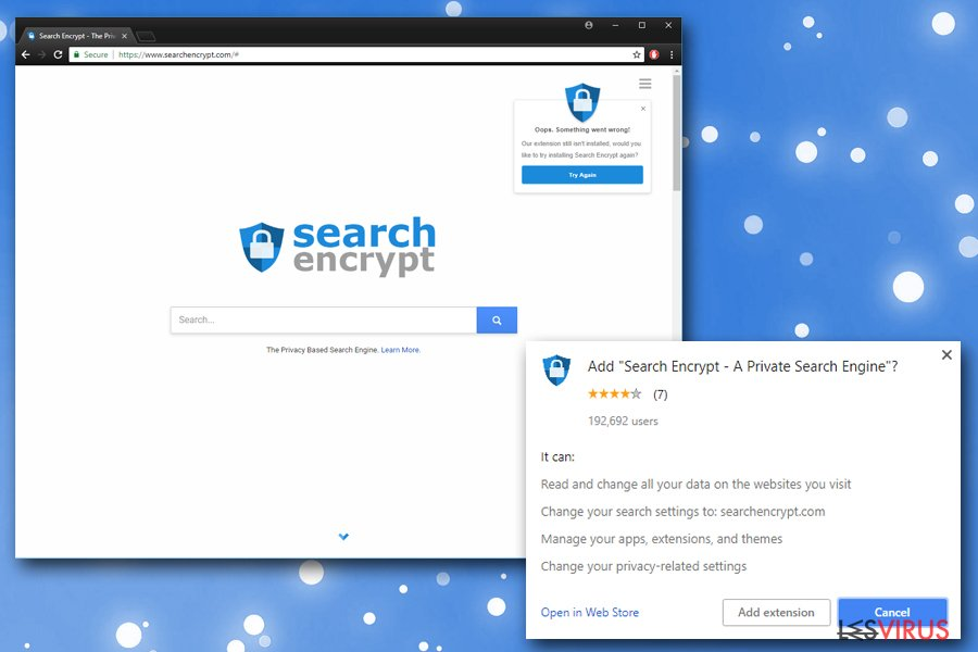 Search Encrypt instantané