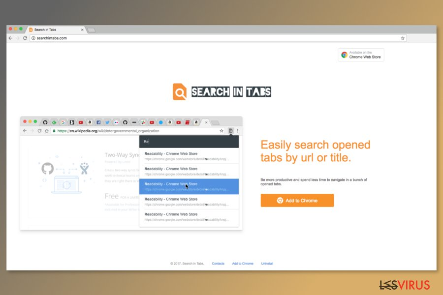 Capture d'écran de la page de téléchargement de Search In Tabs