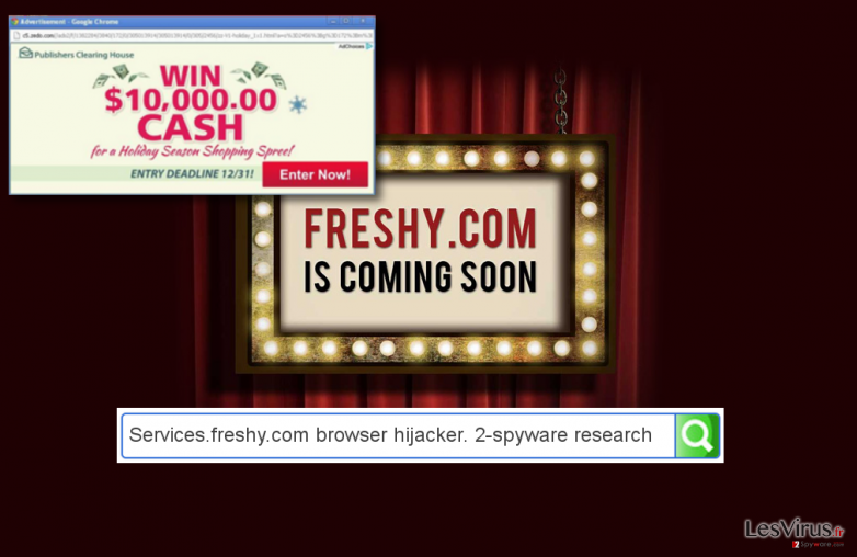 Services.freshy.com hijacker and an example of ads by Services.freshy.com