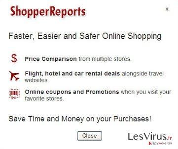 ShopperReports adware instantané