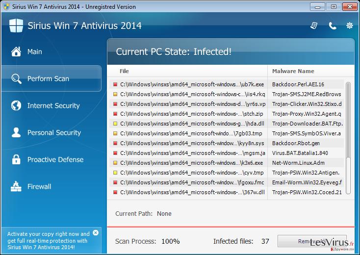Sirius Win 7 Antivirus 2014 instantané