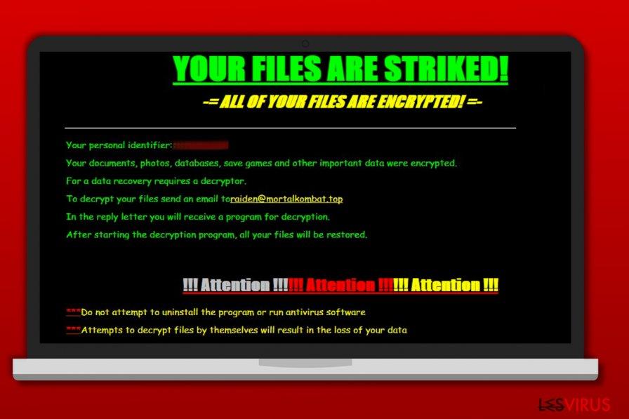 une capture d'écran de la note de rançon du rançongiciel Striked