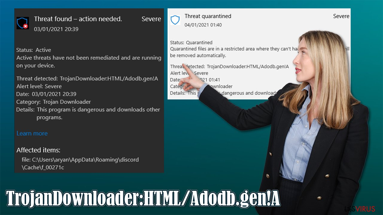 Le virus TrojanDownloader:HTML/Adodb.gen!A