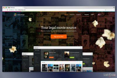 Capture d'écran du site Web de VideoStripe