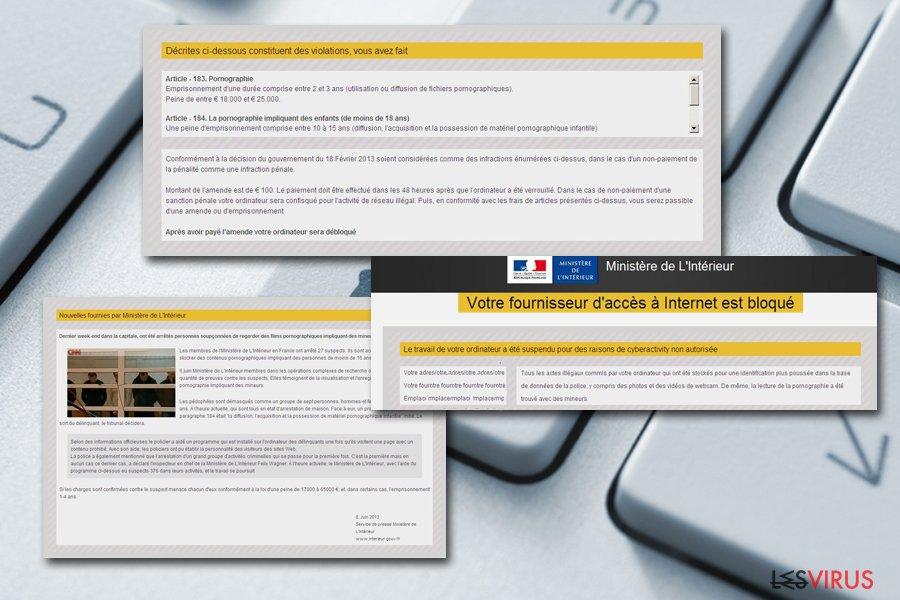 le malware  « Votre fournisseur d'accès à Internet est bloqué »