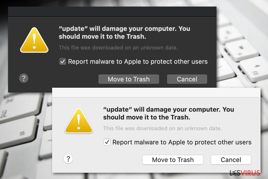 La notification «Will damage your computer. You should move it to the Trash »