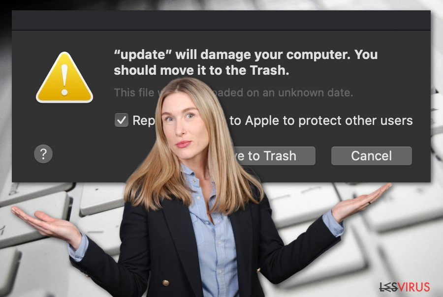 Le virus «Will damage your computer. You should move it to the Trash»