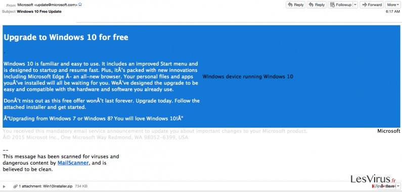 'Windows 10 Free Update' virus instantané