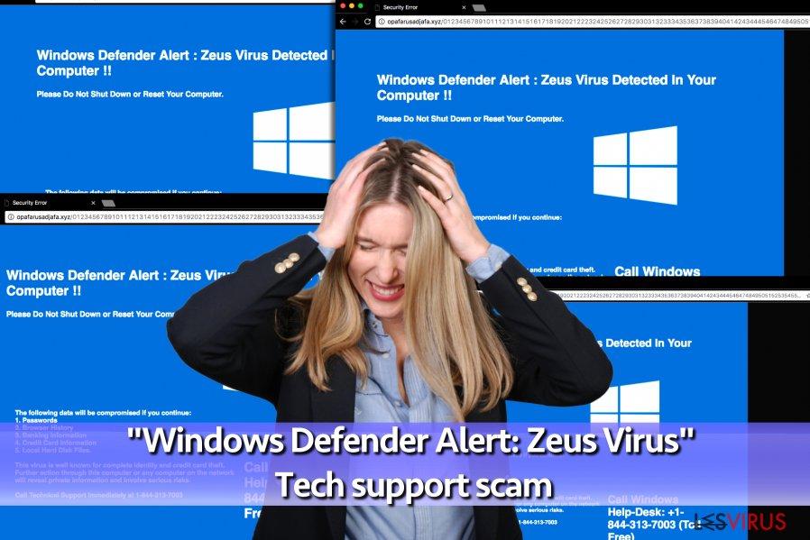 """Le virus de Support Technique d'arnaque """"Windows Defender Alert: Zeus Virus"""""""