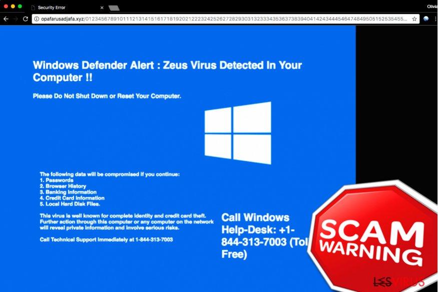 «Windows Defender Alert: Zeus Virus» Tech Support Scam