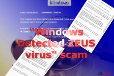 """Une image représentant les messages du Scam """"Windows Detected ZEUS"""" / """"Windows a détecté Zeus"""""""