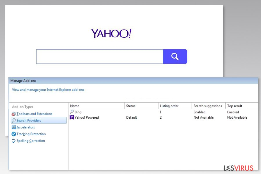 Image du virus Yahoo Powered