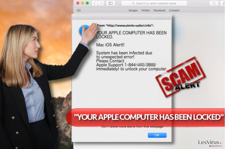 "Le virus du support technique d'arnaque ""YOUR APPLE COMPUTER HAS BEEN LOCKED"""