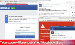 Le virus Facebook Your page will be unpublished