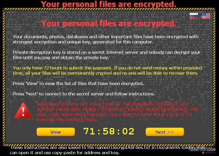 "Le virus ""Your personal files are encrypted"" instantané"
