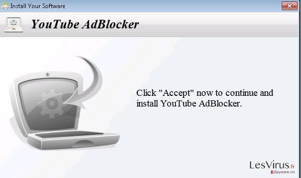 YoutubeAdBlocker adware instantané