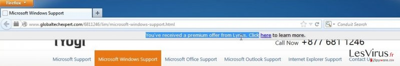 'You've received a premium offer' virus instantané