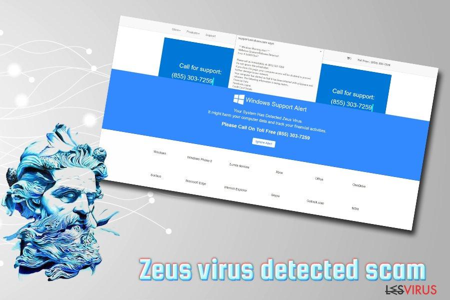 """Le Support Technique d'arnaque """"Windows Defender Alert: Zeus Virus"""" instantané"""