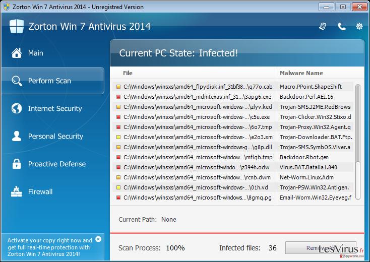 Zorton Win 7 Antivirus 2014 instantané